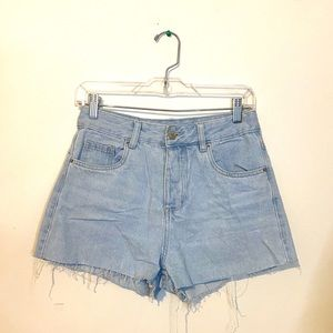 High rise mom jean shorts.